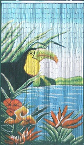 Toucan Paradise Bamboo Beaded Curtain