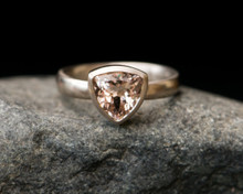 Morganite Engagement Ring - 18k White Gold Morganite Ring