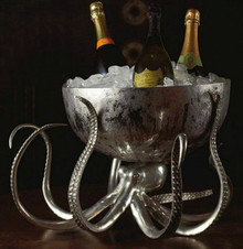 Octopus Pewter Steel Ice Tub Punchbowl