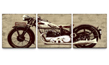 3 Piece Motorcycle Canvas Wall Decor