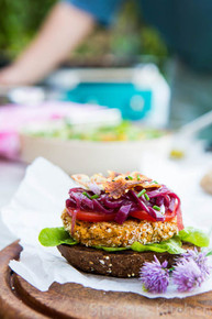 Chickpea, Sundried Tomato & Tahini Burger- (Free Recipe below)