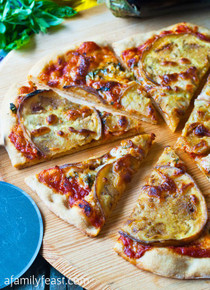 Eggplant and Garlic Pizza - (Free Recipe below)