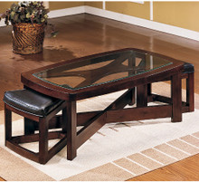 Contemporary Rectangular Coffee Table w/ 2 Ottomans