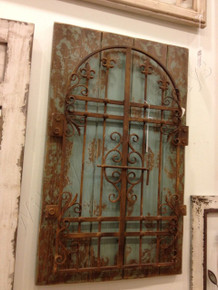 Rustic Iron Distressed Blue Garden Gate Wall Decor