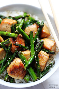 CHICKEN AND ASPARAGUS STIR FRY - (Free Recipe below)