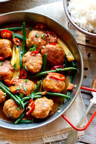 Thai Chicken Meatball Curry with Jasmine Rice - (Free Recipe below)