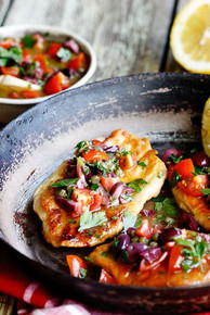Chicken Escalopes with Olives, Capers & Tomato Dressing - (Free Recipe below)