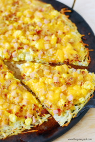 Breakfast Pizza with Hash Brown Crust - (Free Recipe below)