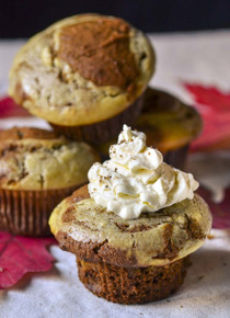 Pumpkin Muffins with Eggnog Cream Cheese Swirl - One Dozen w/ recipe below