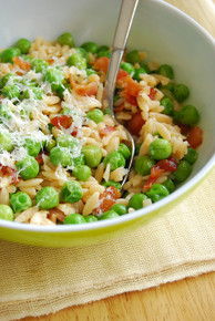 Bacon & Peas with Orzo - (Free Recipe below)