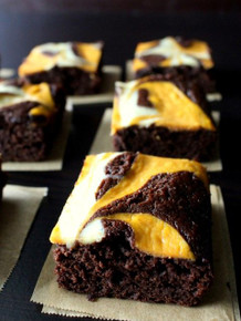 Pumpkin Cheesecake Swirled Brownies - One Dozen w/ recipe below