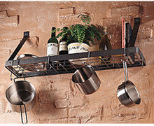 Gourmet Wall Mount Pot Rack & Book Shelf