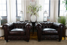 Leather Tufted Fine Home Estate Chair Set