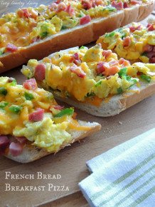 French Bread Breakfast Pizza - (Free Recipes below)