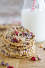 Chocolate Toffee Cranberry Cookies - One Dozen w/ recipe below