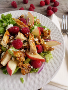 Fresh Raspberry Chicken Salad  with Raspberry Vinaigrette - (Free Recipe below)