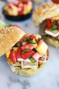 Brie Crab Cake Pretzel Slider Melts with Strawberry Pineapple Salsa - (Free Recipe below)