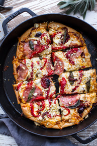Sun-Dried Tomato & Olive Pesto Pizza with Salami + Roasted Red Peppers - (Free Recipe below)
