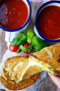 Roasted Basil Tomato Soup & Pesto Grilled Cheese - (Free Recipe below)