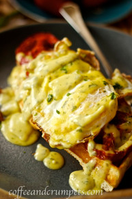 Belgian Waffle Benedict with Roasted Tomatoes - (Free Recipe below)