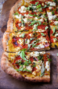 Spicy Salami Pizza with Fennel Seeds, Goat Cheese and Fresh Basil - (Free Recipe below)