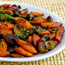 Roasted Carrots and Mushrooms with Thyme - (Free Recipe below)