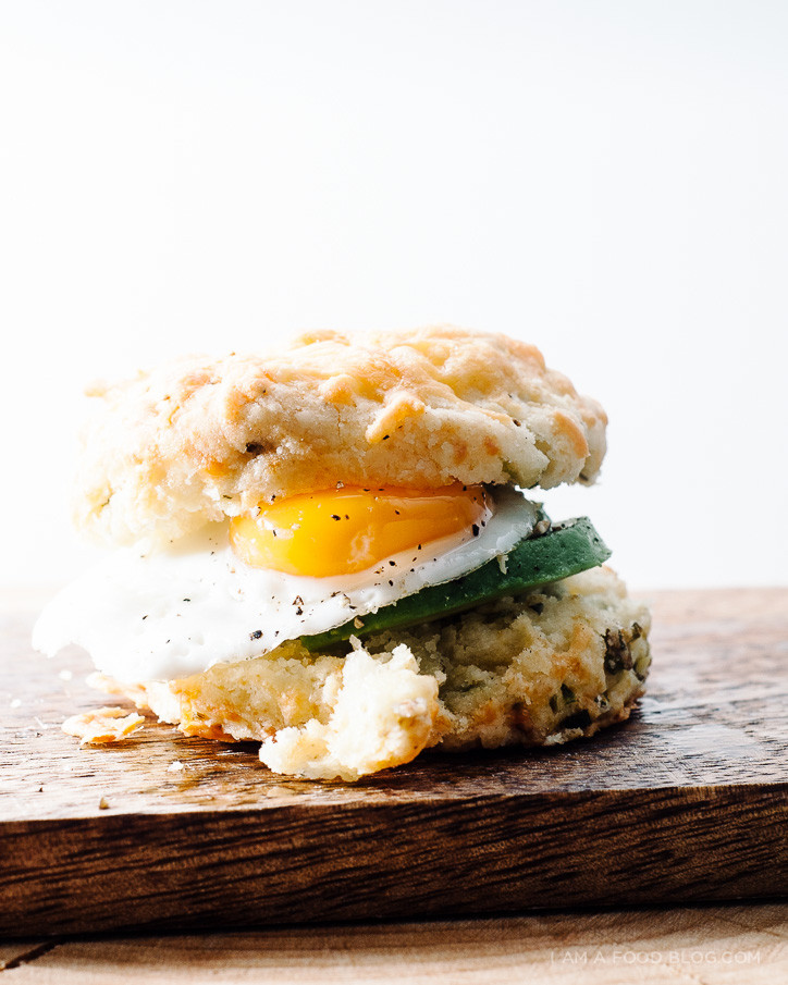 Cheddar, Avocado, Egg & Green Onion Biscuit Sandwich - (Free Recipe ...