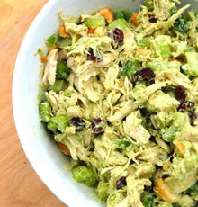 Chicken Avocado Salad w/ Raisins & Grapes - (Free Recipe below)