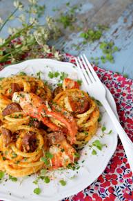 Bucatini in Lobster and Chorizo Cream Sauce - (Free Recipe below)