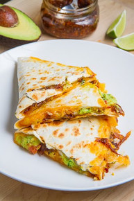 Bacon Jam and Guacamole Quesadilla with Fried Egg with Bacon Jam Vinaigrette Drizzle - (Free Recipe below)