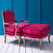 Antoinette Armchair and Footstool in Fuchsia Velvet or Heiringbone
