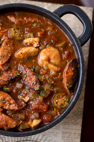 Gumbo-laya Stew with Spicy Sausage, Chicken and Shrimp with Okra over Fragrant Garlic Rice - (Free Recipe below)