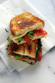 Broccoli Rabe, Roasted Red Pepper, and Provolone Grilled Cheese - (Free Recipe below)