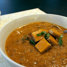 Roasted Tomato Soup with Grilled Cheese Croutons - (Free Recipe below)