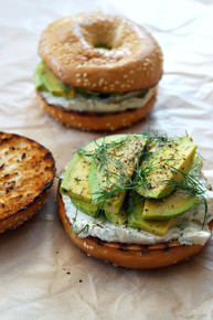 Toasted Bagel with Dill Cream Cheese and Avocado - (Free Recipe below)
