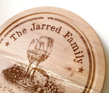 Personalized wooden cutting board, custom laser engraved cheese serving board