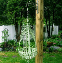 Lattice Weave Iron Hanging Planter Basket
