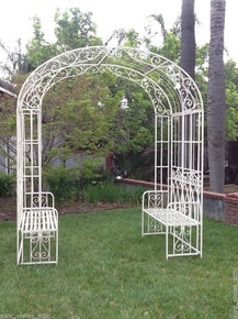 Double Bench Iron Arbor - White - other colors available