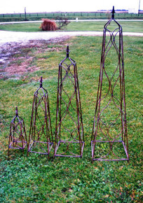 "44"" Tall Wrought Iron Sq Finial Topiary Obelisk Trellis"