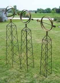 Sun Dial Wrought Iron Obelisk Trellis - many sizes