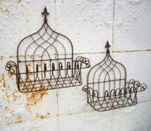 Fleur Tuscan Wrought Iron Wall Basket - 2 sizes available