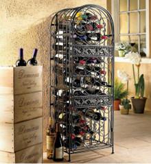 Scroll Wrought Iron 45 Bottle Wine Cellar Holder