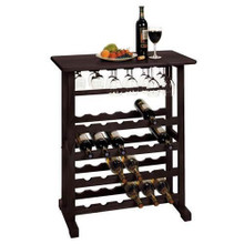 24 Bottle Wine Rack Storage Cabinet Wood Glass Bar - Espresso or Pine
