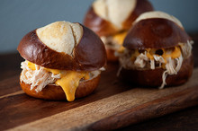 BEER CHEESE CHICKEN PRETZEL SLIDERS - (Free Recipe below)