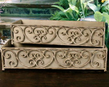 Set of 2 Iron Dover Scroll Window Box Planters