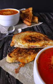 Thick & Creamy Tomato Basil Soup with Prosciutto, Apple & Gruyere Grilled Cheese - (Free Recipe below)