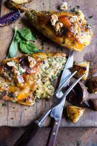 Apricot Glazed Walnut and Brie Stuffed Chicken Breast with Roasted Potatoes - (Free Recipe below)