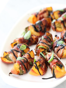 Bacon Wrapped Grilled Peaches with Balsamic Glaze - (Free Recipe below)