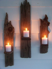 "Set of 2 Driftwood Candle Wall Sconces - 30"" each"
