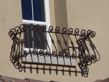 "Custon 60"" Wrought Iron Balcony Style Window Box - Black"